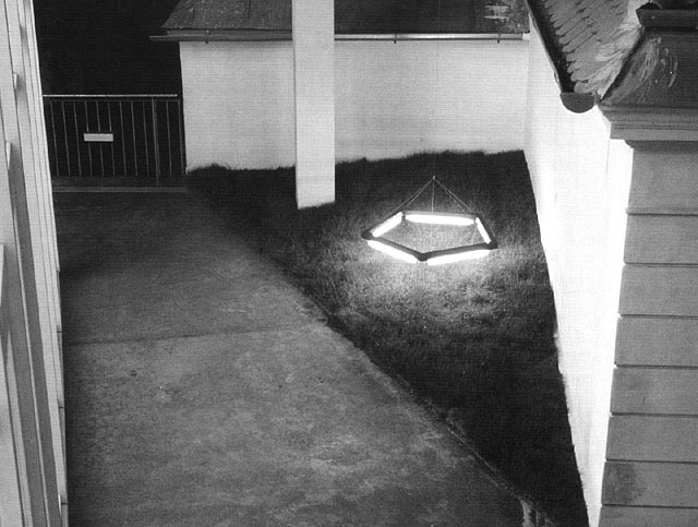 manfred weitgasser, community hall lawn with pentagon light